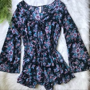[Xhilaration] Floral Romper with Tie Front